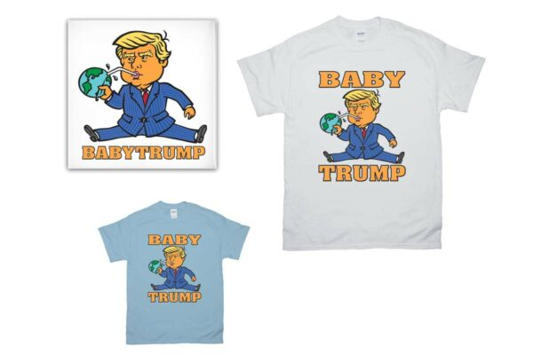 Baby Trump, graphic t-shirts, totes, mugs and gifts